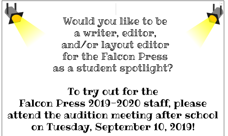 Would you like to be in the Falcon Press?